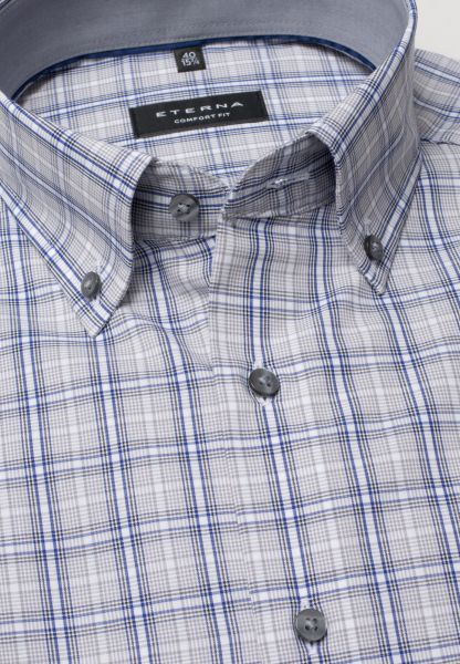 ETERNA HALF SLEEVE SHIRT COMFORT FIT POPLIN GRAY / PETROL CHECKED