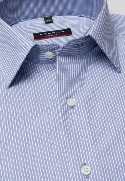 ETERNA LONG SLEEVE SHIRT MODERN FIT FIL À FIL BLUE/WHITE STRIPED