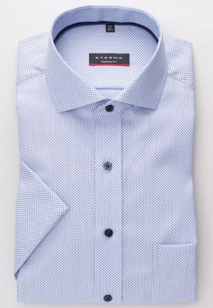 ETERNA HALF SLEEVE SHIRT MODERN FIT KETTLANCÈ BLUE/WHITE PATTERNED