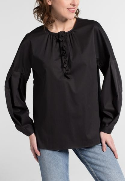 LONG SLEEVE BLOUSE 1863 BY ETERNA - PREMIUM STRETCH BLACK UNI