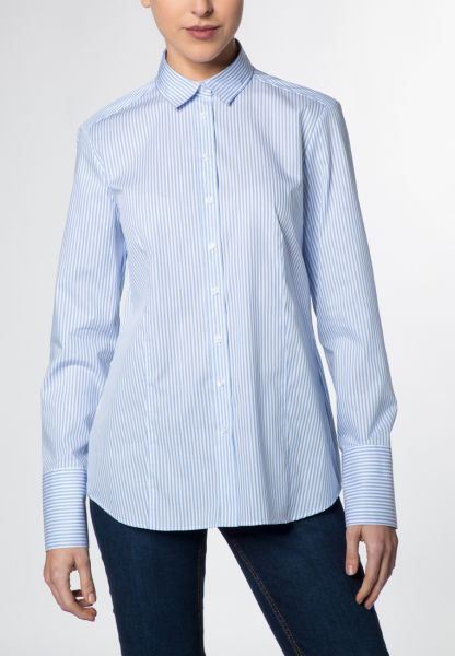 ETERNA LONG SLEEVE BLOUSE MODERN CLASSIC LIGHT BLUE / WHITE STRIPED