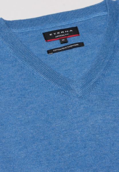 ETERNA KNIT SWEATER WITH V-NECK LIGHT BLUE UNI