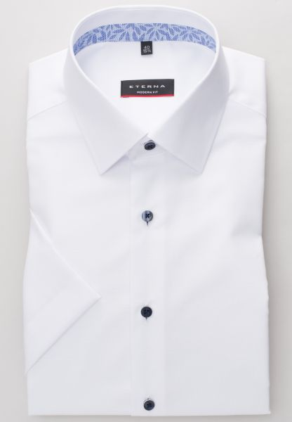 ETERNA HALF SLEEVE SHIRT MODERN FIT NATTÉ WHITE STRUCTURED