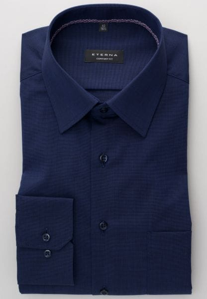 ETERNA LONG SLEEVE SHIRT COMFORT FIT FIL À FIL NAVY BLUE UNI