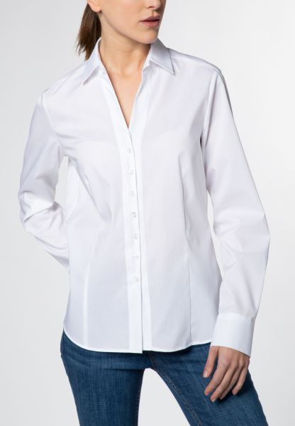 ETERNA LONG SLEEVE BLOUSE MODERN CLASSIC STRETCH WHITE UNI