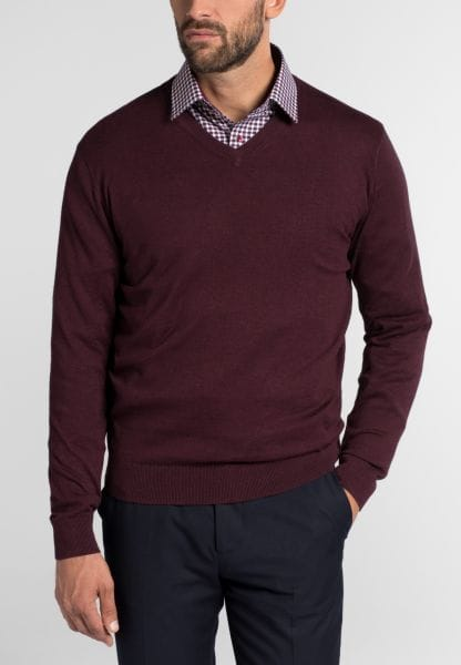 ETERNA KNIT SWEATER MODERN FIT WITH V-NECK RED WINE UNI
