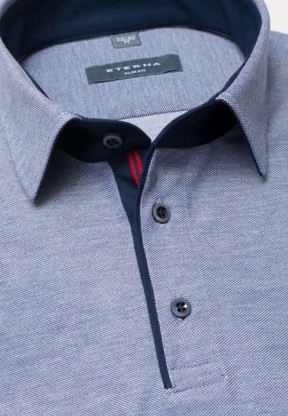 ETERNA POLOSHIRT SLIM FIT PIQUÉE FLECKED BLUE UNI