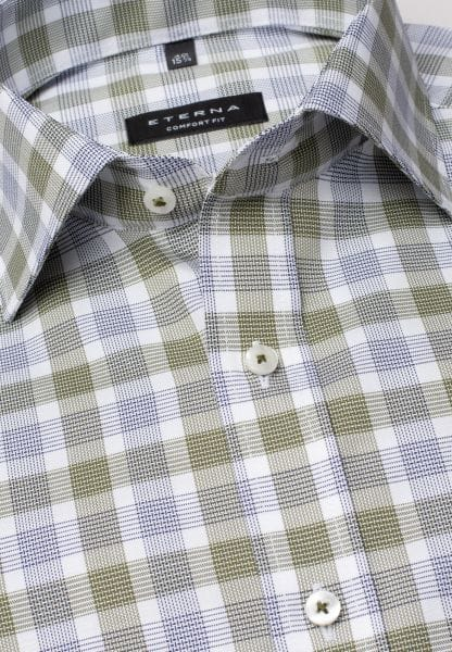 ETERNA LONG SLEEVE SHIRT COMFORT FIT OXFORD OLIVE / BLUE CHECKED