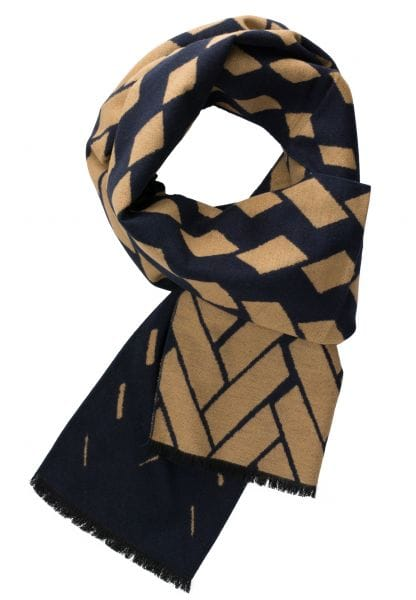 ETERNA SCARF BEIGE / NAVY PATTERNED