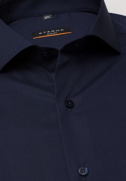 ETERNA LONG SLEEVE SHIRT SLIM FIT STRETCH NAVY STRUCTURED