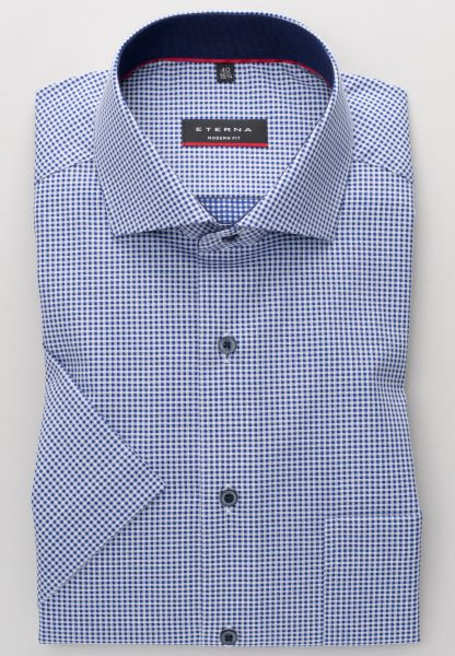 ETERNA SHIRT MODERN FIT TWILL BLUE CHECKED