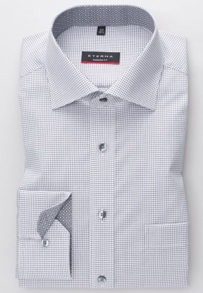 ETERNA LONG SLEEVE SHIRT MODERN FIT POPLIN ANTHRACITE / WHITE CHECKED