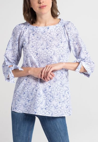 ETERNA 3/4 SLEEVE BLOUSE MODERN CLASSIC POPLIN LIGHT BLUE / WHITE PRINTED