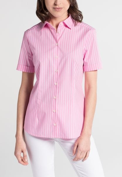 ETERNA HALF SLEEVE BLOUSE MODERN CLASSIC STRETCH ROSE STRIPED