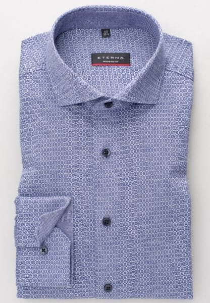 ETERNA SHIRT MODERN FIT JERSEY JEANS BLUE PATTERNED