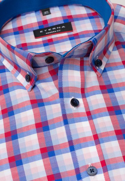 ETERNA LONG SLEEVE SHIRT MODERN FIT RED/BLUE CHECKED