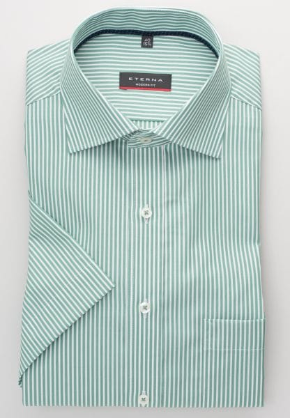 ETERNA HALF SLEEVE SHIRT MODERN FIT POPLIN GREEN STRIPED