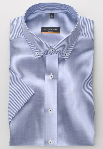 ETERNA HALF SLEEVE SHIRT SLIM FIT OXFORD BLUE/WHITE STRIPED