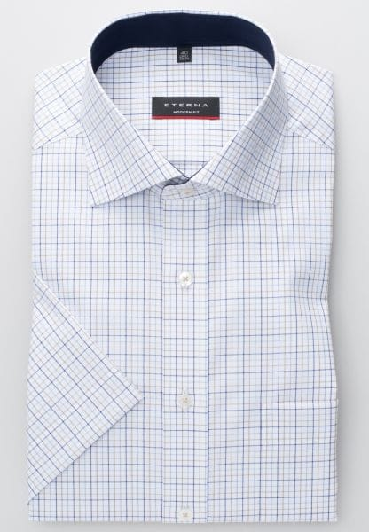 ETERNA HALF SLEEVE SHIRT MODERN FIT OXFORD BLUE / BEIGE CHECKED