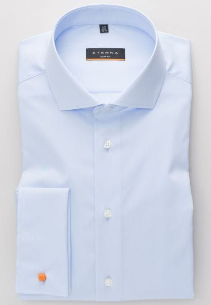 ETERNA LONG SLEEVE SHIRT SLIM FIT STRETCH LIGHT BLUE UNI