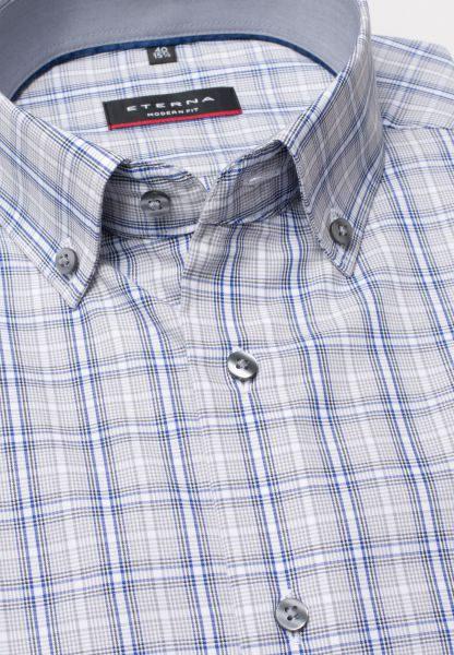 ETERNA HALF SLEEVE SHIRT MODERN FIT POPLIN GRAY / PETROL CHECKED