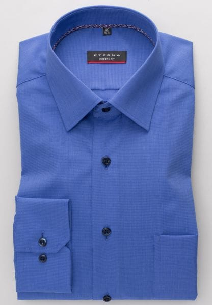 ETERNA LONG SLEEVE SHIRT MODERN FIT FIL À FIL BLUE UNI