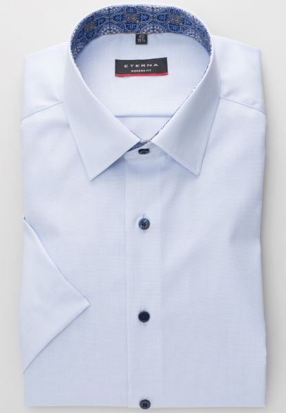 ETERNA HALF SLEEVE SHIRT MODERN FIT PINPOINT LIGHT BLUE UNI
