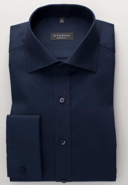 ETERNA LONG SLEEVE SHIRT COMFORT FIT POPLIN NAVY BLUE UNI