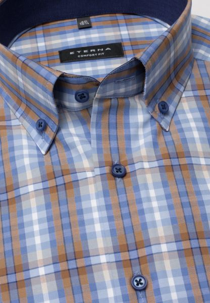 ETERNA HALF SLEEVE SHIRT COMFORT FIT POPLIN LIGHT BLUE CHECKED