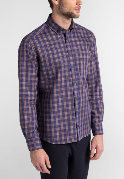 ETERNA LONG SLEEVE SHIRT MODERN FIT FLANEL BLUE / CAMEL / RED CHECKED