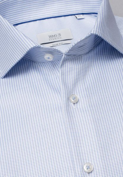 ETERNA LONG SLEEVE SHIRT SLIM FIT TWILL LIGHT BLUE / WHITE STRUCTURED
