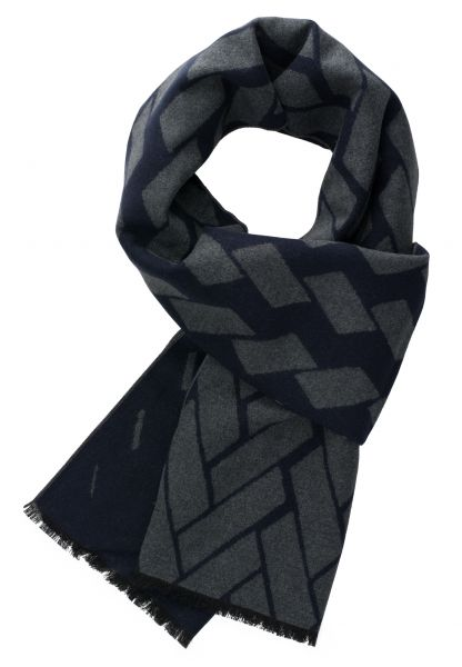 ETERNA SCARF NAVY / DARK GRAY PATTERNED