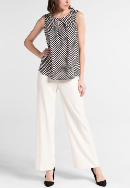 ETERNA WITHOUT SLEEVES BLOUSE MODERN CLASSIC VISKOSE BLACK/WHITE PRINTED