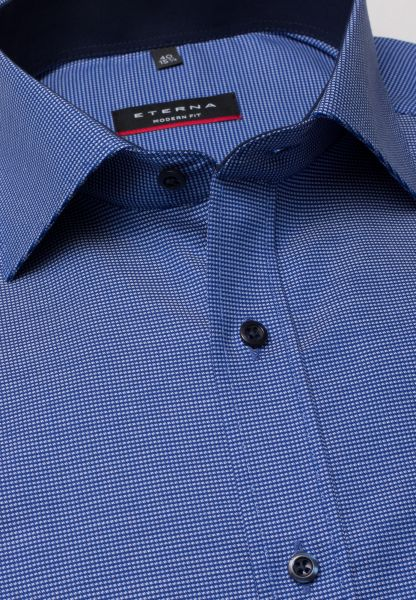ETERNA LONG SLEEVE SHIRT MODERN FIT NATTÉ BLUE STRUCTURED