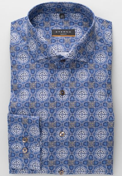 ETERNA LONG SLEEVE SHIRT SLIM FIT POPLIN BLUE / BEIGE PRINTED