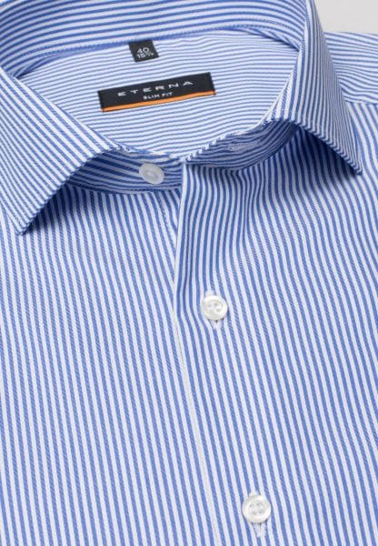 ETERNA LONG SLEEVE SHIRT SLIM FIT TWILL LIGHT BLUE / WHITE STRIPED