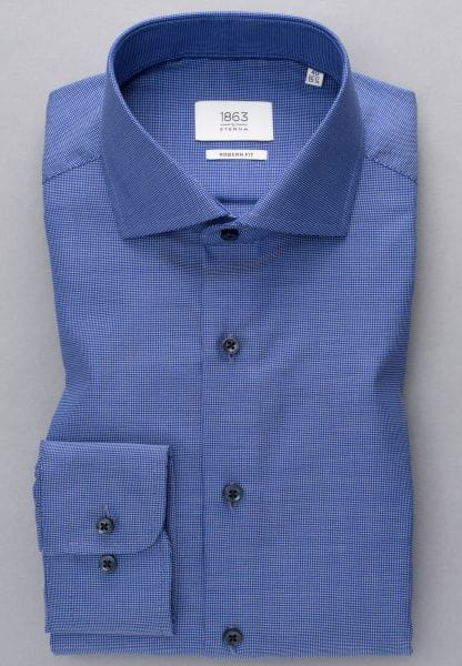 ETERNA LONG SLEEVE SHIRT MODERN FIT OXFORD BLUE STRUCTURED