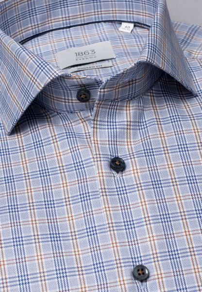 ETERNA LONG SLEEVE SHIRT MODERN FIT TWILL BLUE/BROWN CHECKED