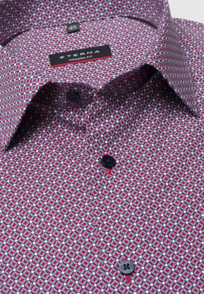 ETERNA HALF SLEEVE SHIRT MODERN FIT POPLIN RED PRINTED