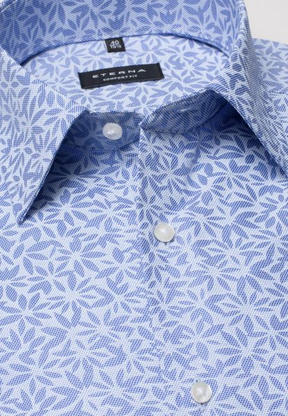 ETERNA SHIRT COMFORT FIT POPLIN BLUE / LIGHT BLUE PRINTED