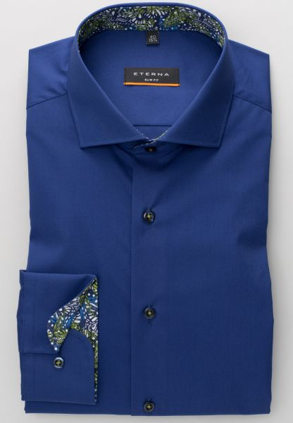 ETERNA LONG SLEEVE SHIRT SLIM FIT STRETCH NAVY BLUE UNI
