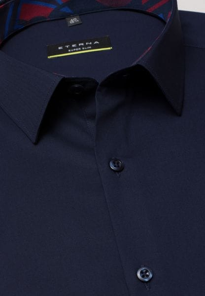 ETERNA LONG SLEEVE SHIRT SUPER-SLIM STRETCH NAVY UNI