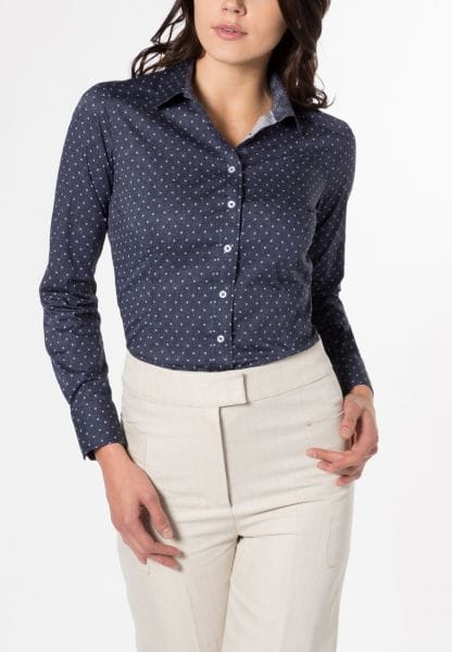 ETERNA LONG SLEEVE BLOUSE SLIM FIT MARINE PRINTED
