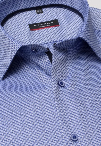 ETERNA SHIRT MODERN FIT TWILL BLUE/WHITE STRUCTURED