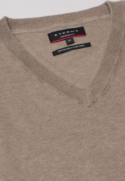 ETERNA KNIT SWEATER WITH V-NECK CAMEL UNI