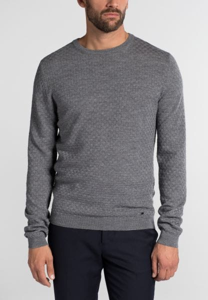 ETERNA KNIT SWEATER MODERN FIT WITH ROUND NECK GRAY UNI