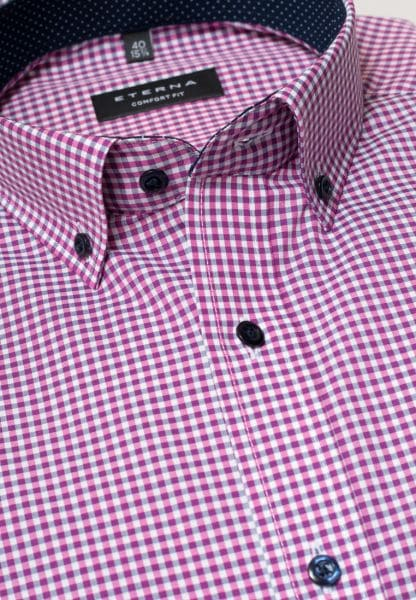 ETERNA LONG SLEEVE SHIRT COMFORT FIT POPLIN PINK/GRAU CHECKED