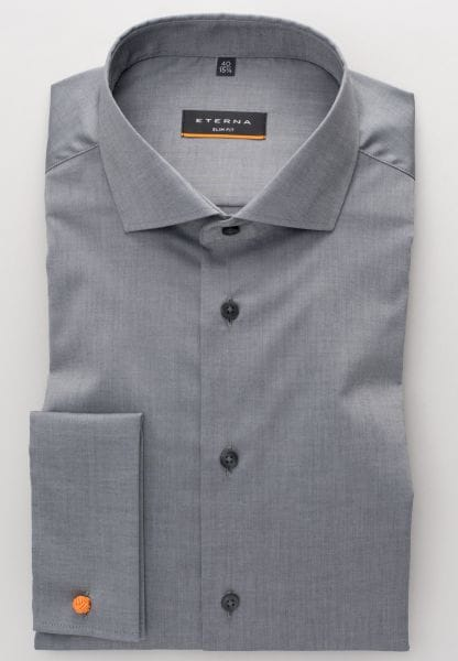 ETERNA LONG SLEEVE SHIRT SLIM FIT STRETCH GREY STRUCTURED