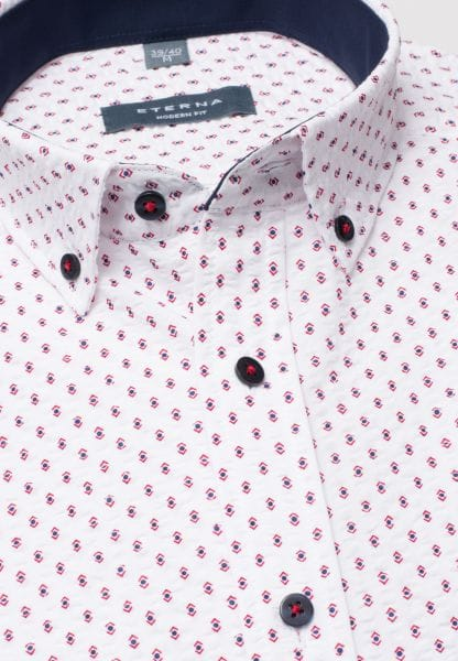 ETERNA HALF SLEEVE SHIRT MODERN FIT POPELINE BLUE / RED / WHITE PRINTED