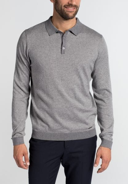 ETERNA KNIT SWEATER MODERN FIT WITH POLO NECK ANTHRACITE UNI